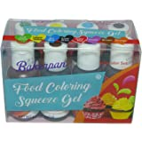 Bakerpan Food Coloring Squeeze Gel .7 oz Bottles, For Icing, Cakes, Set of 8 Colors