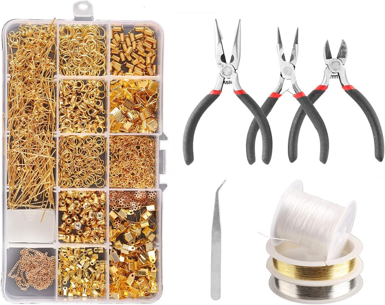 Kit de reparación de joyas, alicates, herramientas para hacer joyas, cadena de cuentas y suministros para reparación de joyas, pendientes para adultos dorado