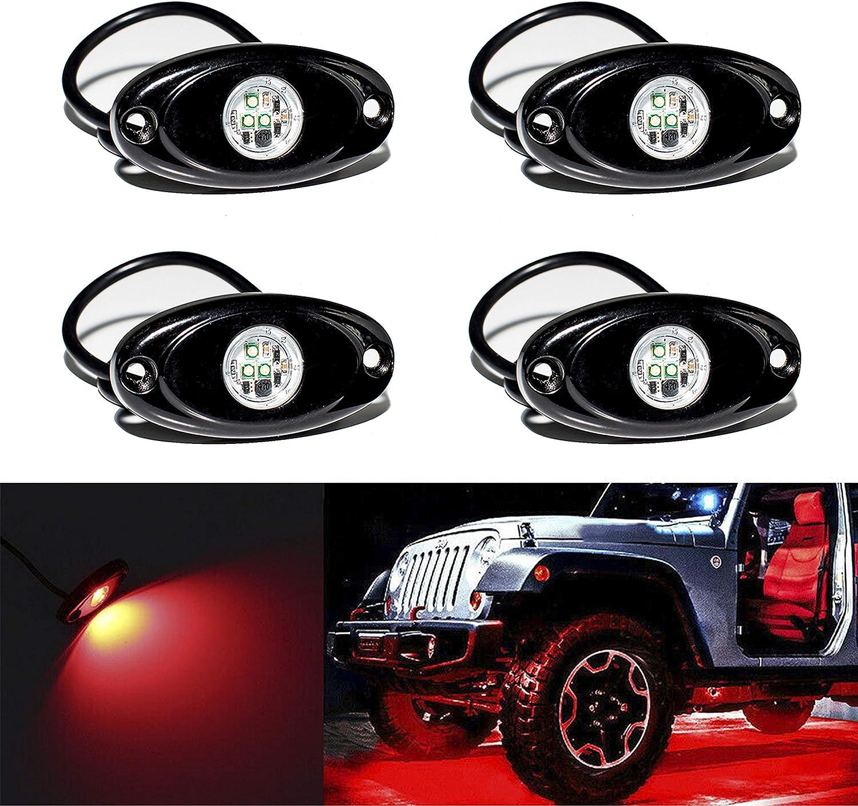 YONEDA LED Rock Lights 4PODS Waterproof LED Neon Underglow Light for Car Truck ATV UTV SUV Jeep Offroad Boat Underbody Glow Trail Rig Lamp (White): Automotive