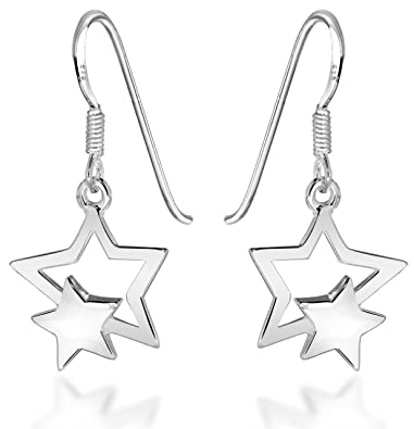 Tuscany Silver Sterling Silver Medium Polished Star Drop Earrings OuP1SdNnwL