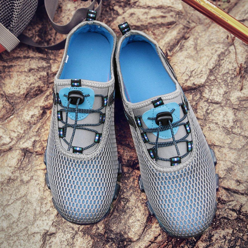 Mens Running Light Mesh Athletic Walking Sneaker Slip On Outdoor Sport Shoes RedBrowm