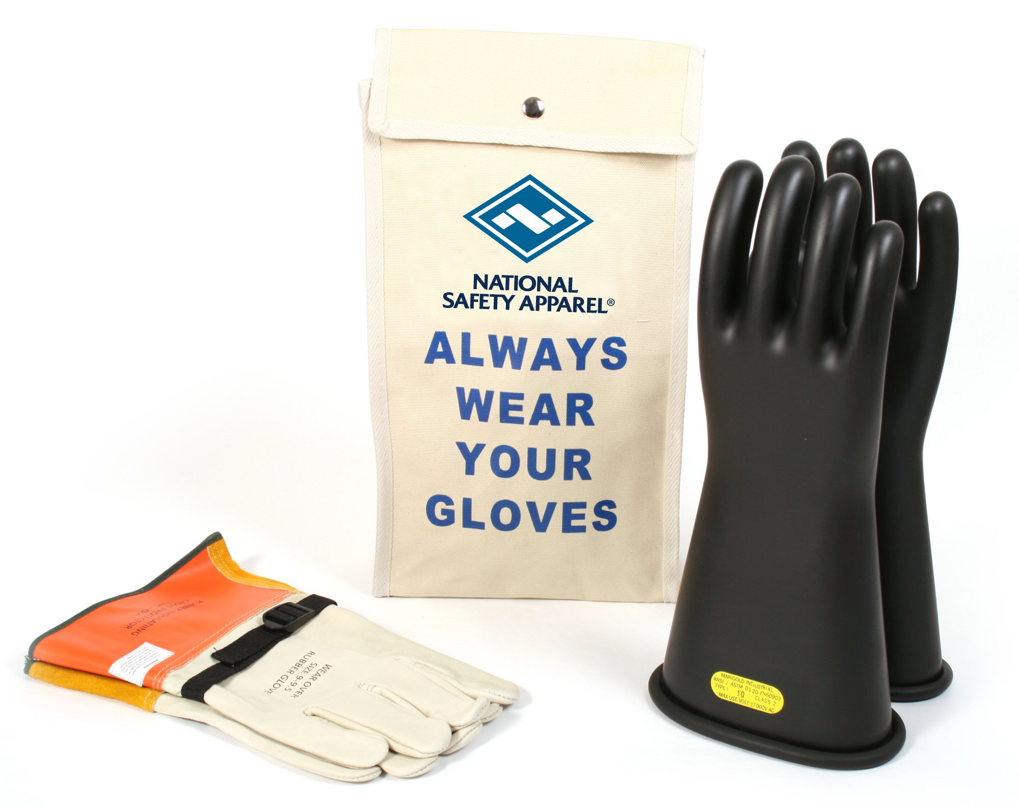 National Safety Apparel Class 2 Black Rubber Voltage Insulating Glove Kit with Leather Protectors, Max. Use Voltage 17,000V AC/ 25,500V DC (KITGC211)
