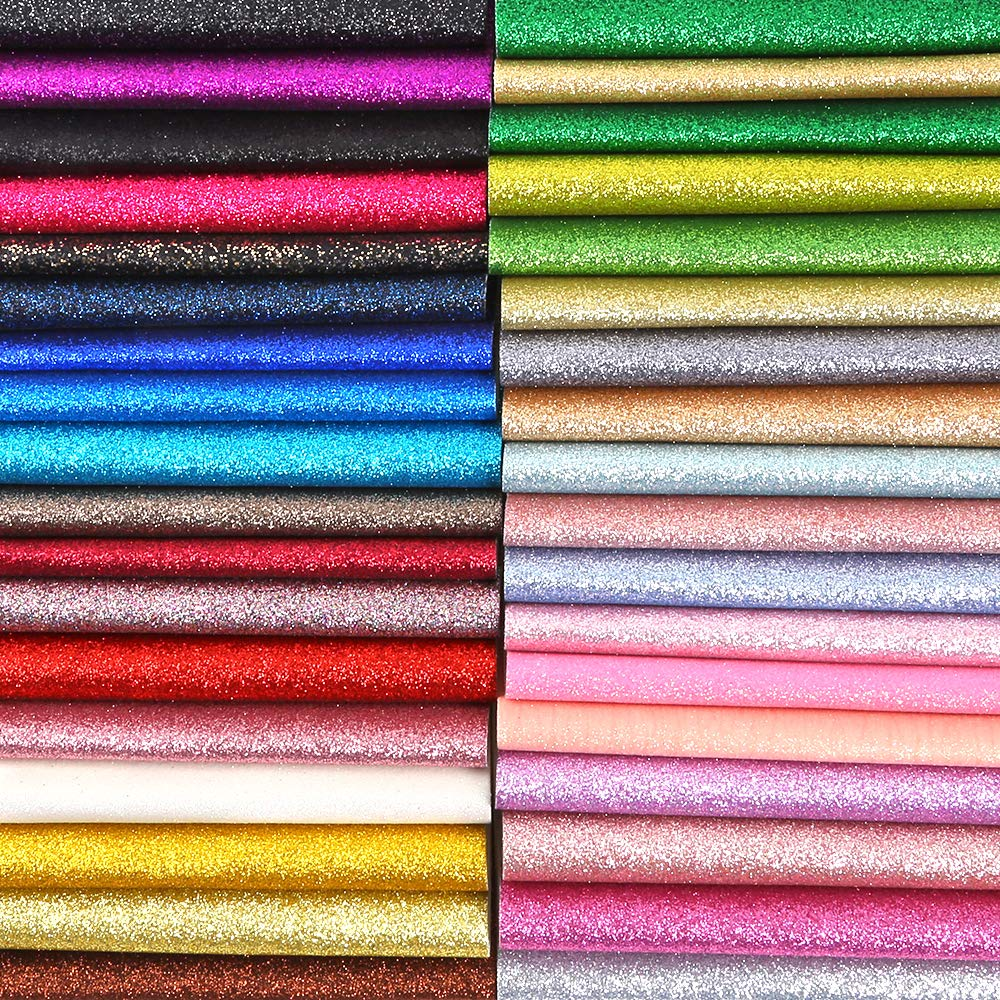 Caydo 36 Colors Shiny Superfine Glitter Fabric, PU Leather Fabric Sheets Canvas Back for Craft DIY, Hair Clips Making, Hat Making 6.3 x 8.3 Inch (16 x 21 cm) by Caydo (Image #1)