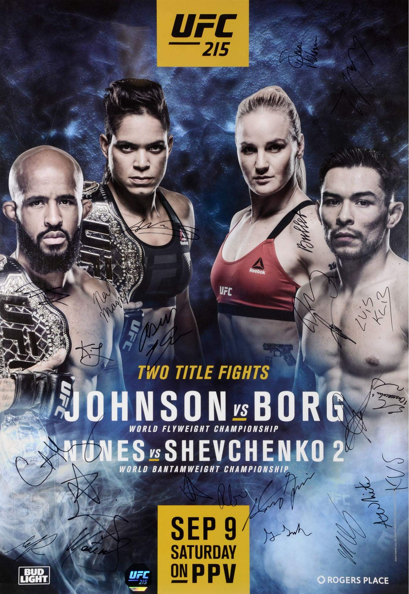"UFC 215 Nunes vs. Shevchenko II Autographed 27"" x 39"" 22 Signature Fight Poster Fanatics Authentic Certified"