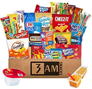 3 AM Snacks Boys Birthday Gifts, Food Basket, Girls Christmas Gifts, Birthday Goody Box, Girl Gift Set, 48 Count