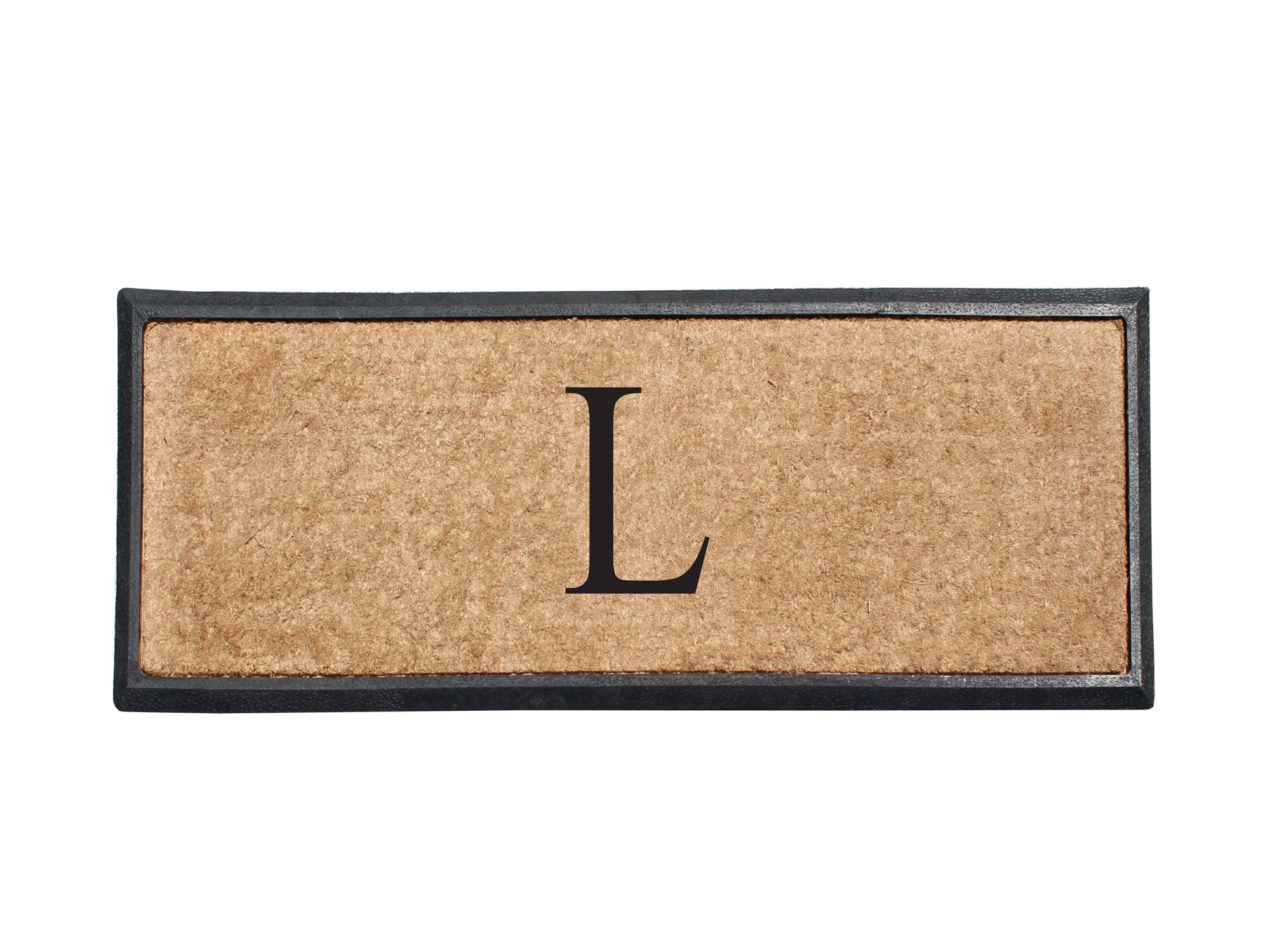 A1 Home Collections First Impression Rubber and Coir Molded Double Doormat, 16'' L x 48'' W, Monogrammed L