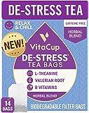 VitaCup DeStress Herbal Tea Bags 14 Ct | Relax & Chill | Chamomile, L-Theanine, Valerian Root & Vitamins B1, B5, B6, B9…
