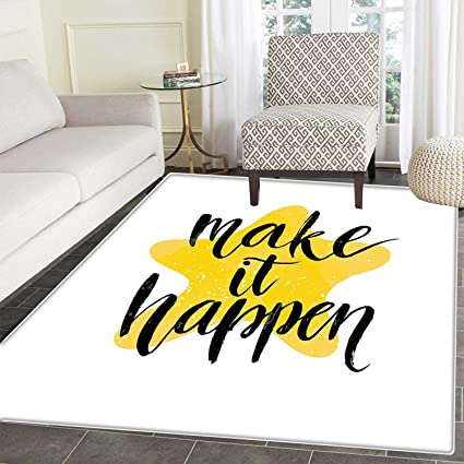 Motivational Area Rug Carpet Instructive Motto Yellow Toned Star Background  Brush Style Letter Grunge Living Dinning