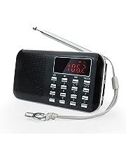prunus Mini Radio Ultra Fina Portable de Am/FM MP3 con la Linterna de Emergencia, batería Recargable y reemplazable, Antena Larga. Almacena Estaciones automáticamente