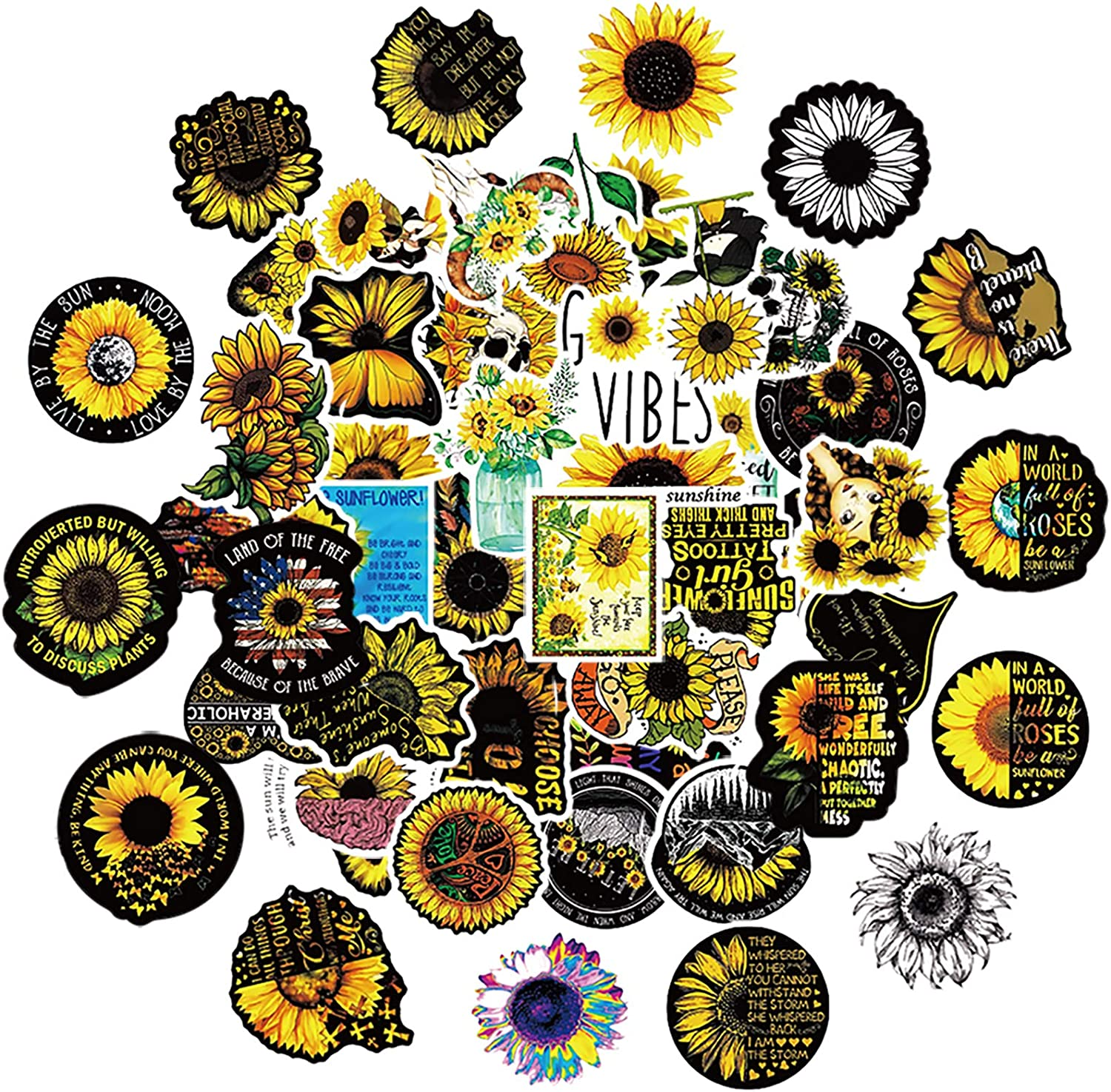 50Pcs You are My Sunshine Sunflower Vinyl Stickers Decals for Laptop Water Bottle Bike Skateboard Luggage Computer Hydro Flask Toy Phone Snowboard. DIY Decoration as Gifts for Kids Girls Teens.