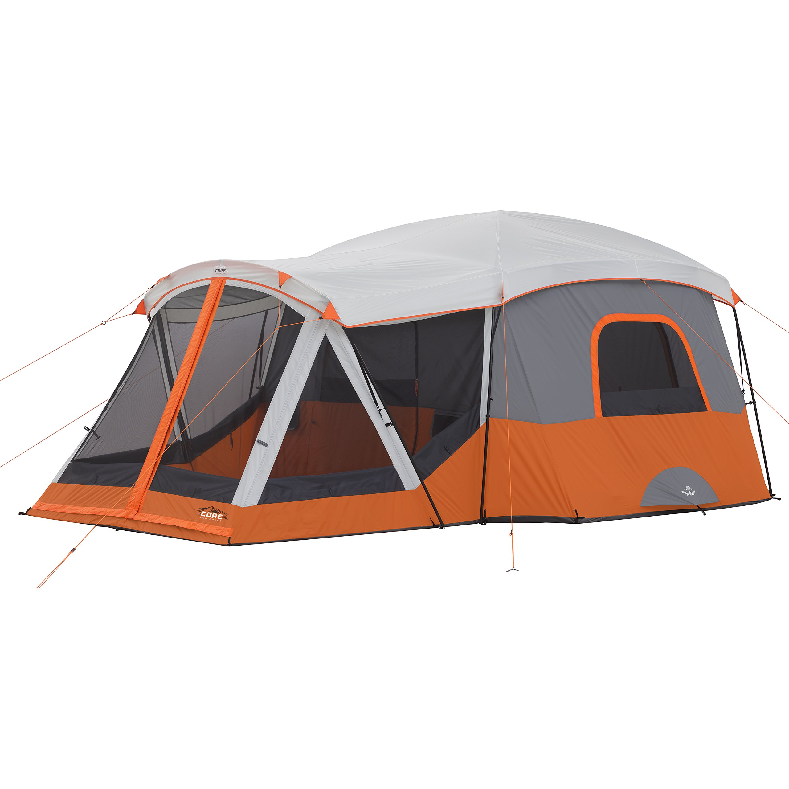 CORE 11 Person Family Cabin Tent with Screen Room (Orange) by CORE