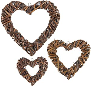 Juvale Heart Wreaths - 3-Pack Rustic Wicker Wall Decor, Hanging Decoration Rattan Wreaths for Valentine's Day, Weddings, Front Door Display, 3 Different Sizes
