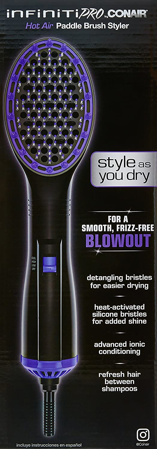 Amazon.com : INFINITIPRO BY CONAIR Hot Air Paddle Brush Styler - for a smooth, frizz-free blowout : Beauty