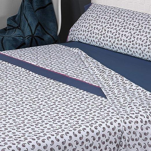 Mora - Juego de sábanas 100% Algodón G57. Cama 135 cm. Azul ...