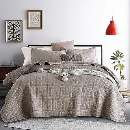 WDXN Colchas Cama Cubierta de Cama Acolchada de algodón Bordado Colcha Primavera y Verano con 2 Fundas de Almohada,Gray,229 * 264cm: Amazon.es: Hogar