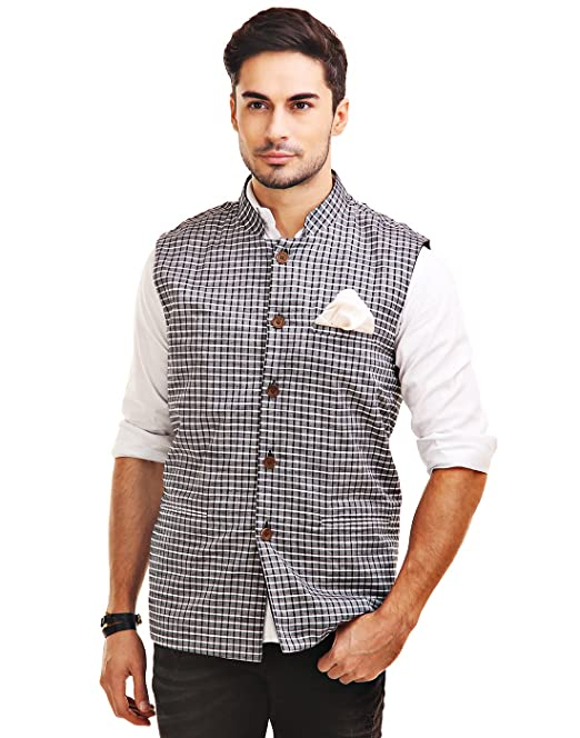 d1b5a1a3c Chokore Men s Reversible Grey with Black   White Checks   Black Cotton  Nehru Jacket  Amazon.in  Clothing   Accessories