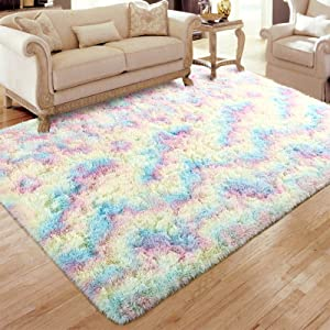 Flagover Fluffy Rainbow Area Rugs for Bedroom Soft Colorful Rugs for Girls Room Kids Baby Room and Living Room Nursery Home Decor Large Accent Floor Carpet 4 x 5.9 Feet