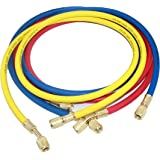 "Joywayus 60 inch 3pcs 3 Color 1/4"" SAE Thread Car Air Conditioning Refrigeration Charging Hose Tube R12 R22 R502"