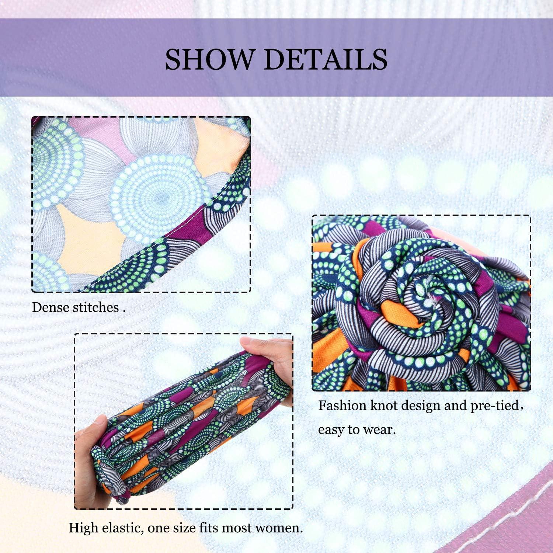 SATINIOR 6 St/ücke Damen Afrikanischen Turban Blume Knoten Pre-Gebunden Motorhaube M/ütze Deckel Kopfbedeckung