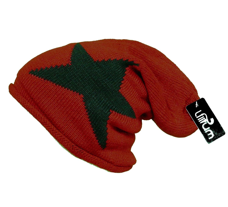 Damen Mütze Long Slouch Beanie Trend Mütze mit Stern Wintermütze Ski Strickmütze