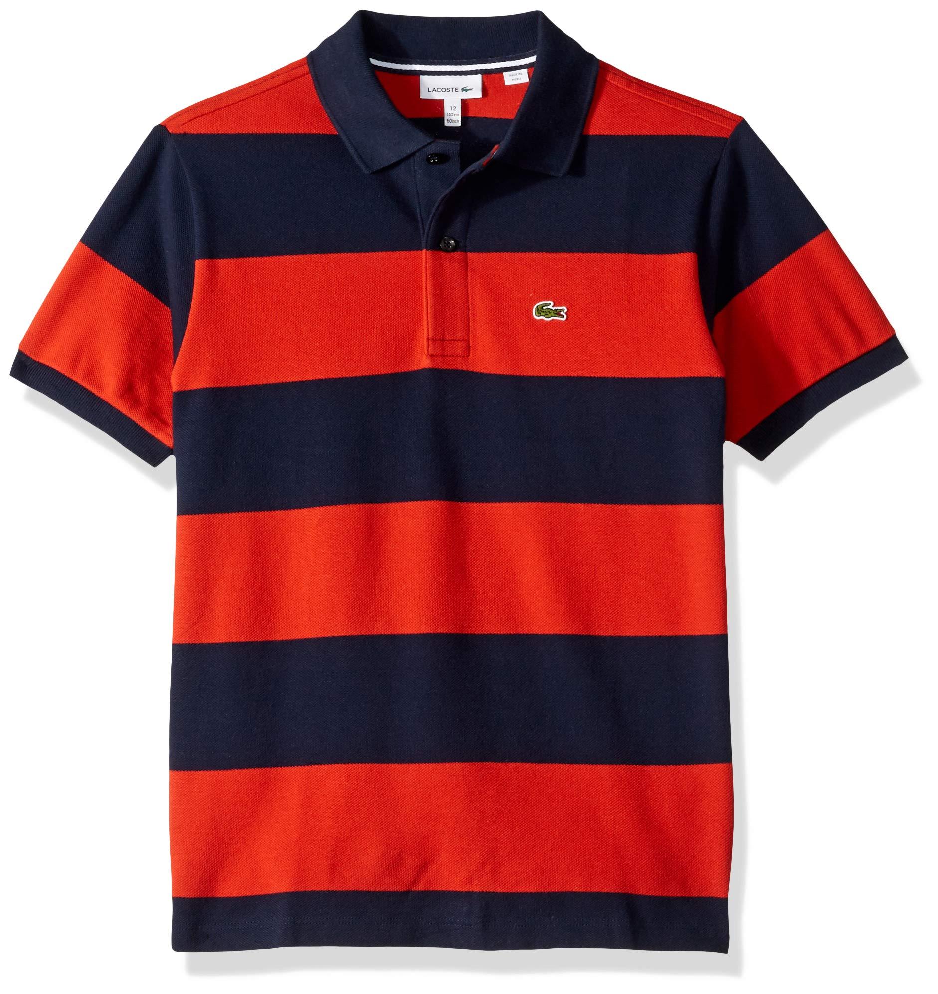 Lacoste Toddler Boys' Striped Cottom Pique Polo, Navy Blue/SALVIA, 3YR