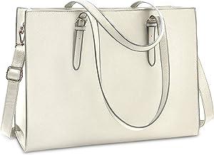 Laptop Bag for Women Waterproof Lightweight Leather 15.6 Inch Computer Tote Bag Business Office Briefcase Large Capacity Handbag Shoulder Bag Professional Office Work Bag Beige