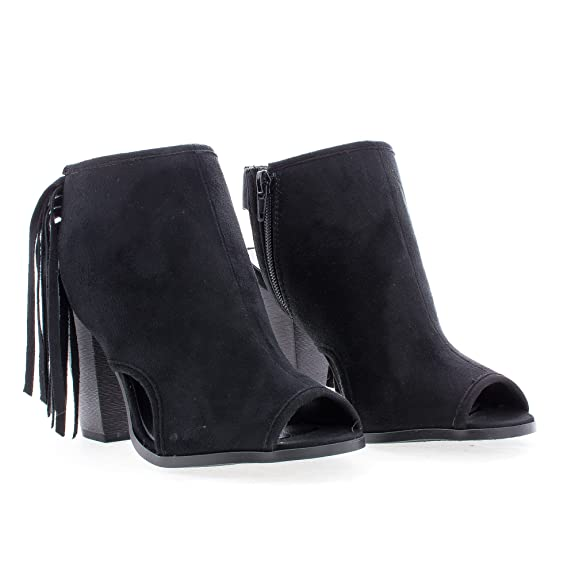 Amazon.com | Sullys Peep Toe Sling Back Fringe Stacked Block Heel Ankle Bootie | Shoes