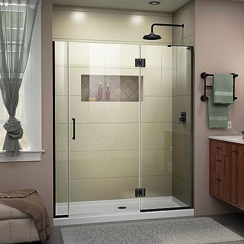 DreamLine Unidoor-X 55 1 2-56 in. W x 72 in. H Frameless Hinged Shower Door in Satin Black, D32506572R-09