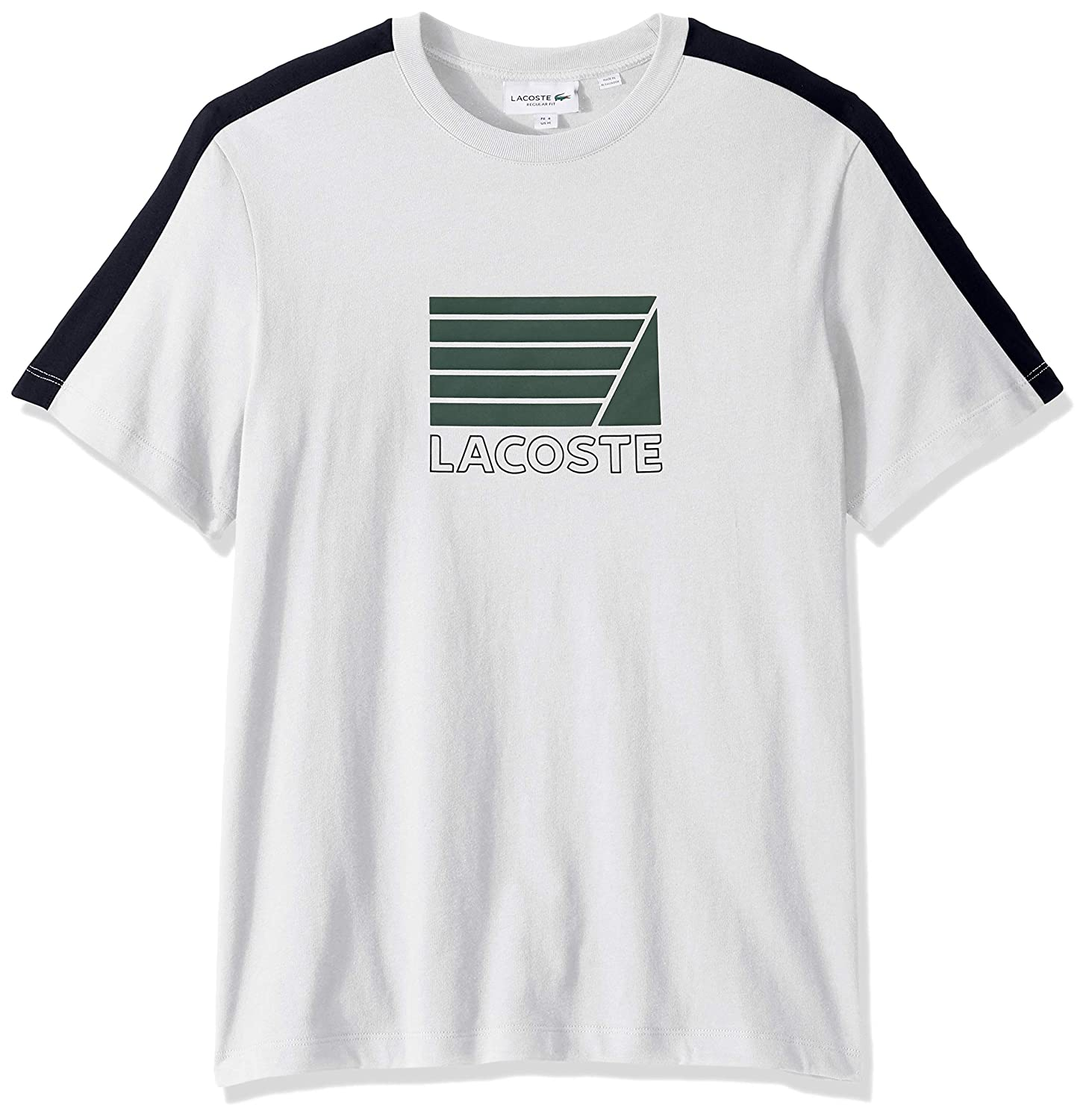4XL Lacoste Mens S//S Jersey with FRAPHIC ADJOVOKIC Stripe Sleeve T-Shirt Shirt White//Navy Blue