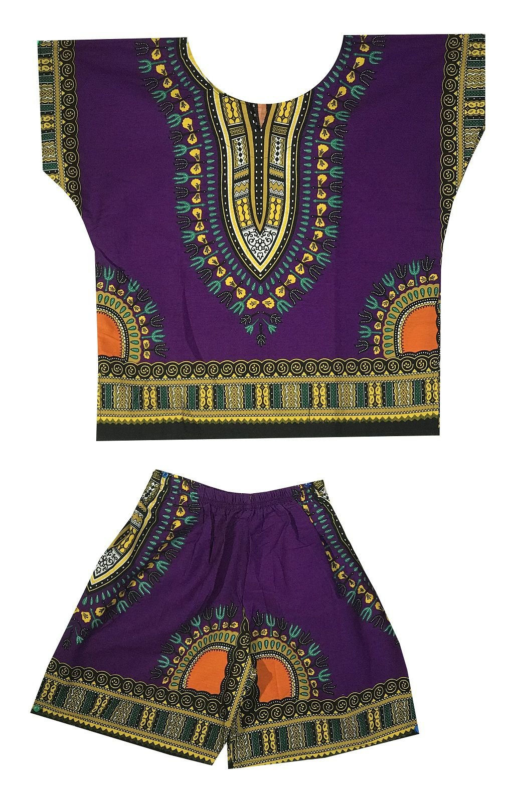 DecoraApparel Kids Dashiki Suit 2 to 5 years old set Baby Shirt with Short One Size (Purple Yellow)