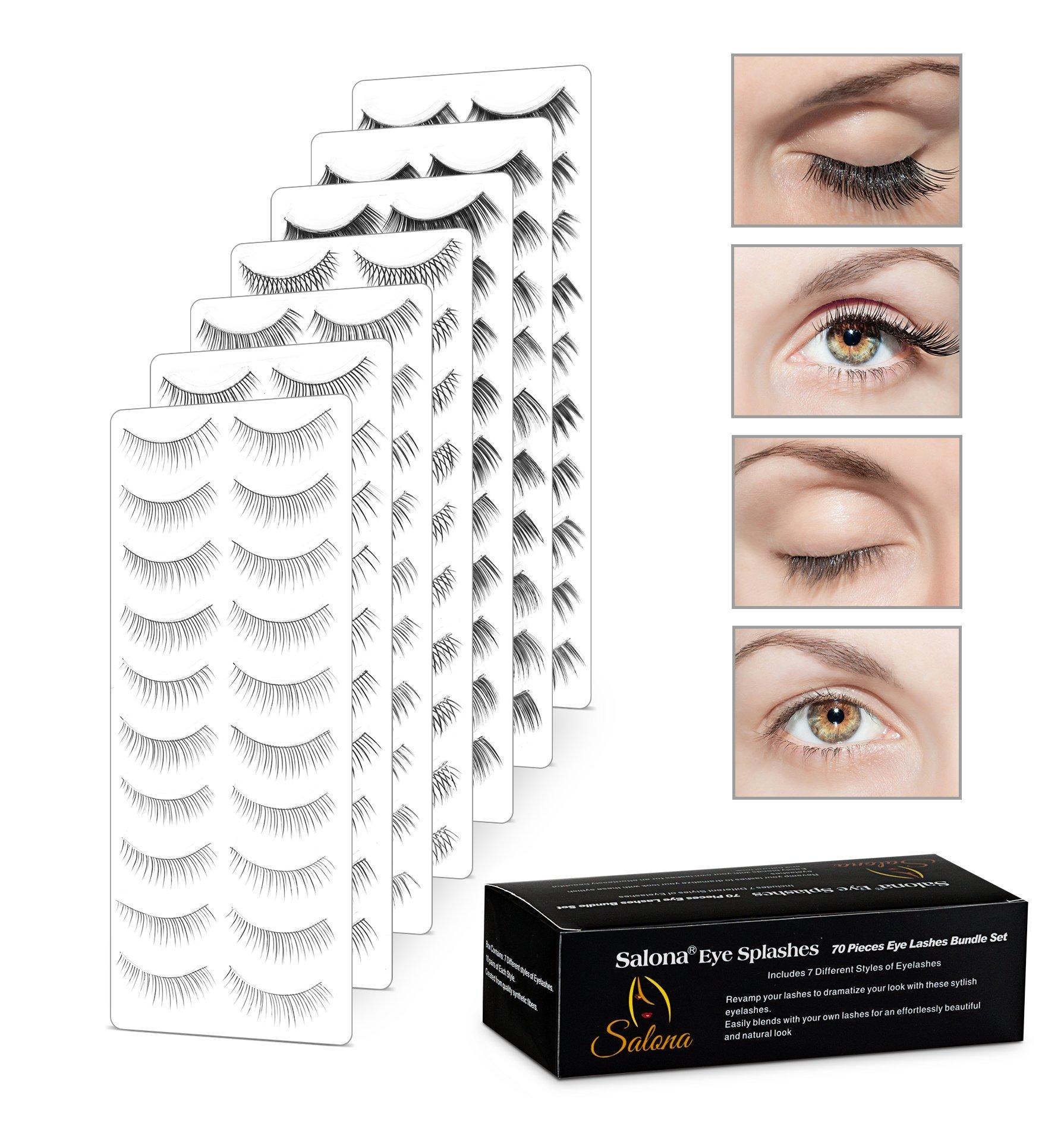 Eye Splashes 70 Pairs False Eye Lashes Bundle - 7 Styles (70 Pairs Bundle)