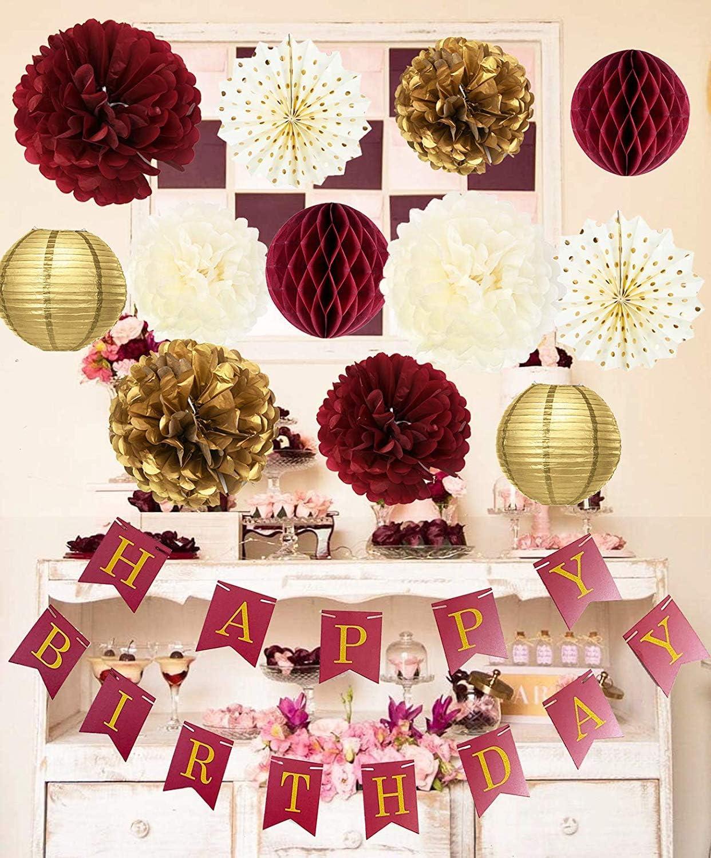 Amazon.com: Borgoña dorado fiesta de cumpleaños decoraciones ...