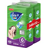 Fine Baby Diapers, Size 6, Junior 16+ kg, Mega Pack, 2 packs of 66 diapers, 132 total count