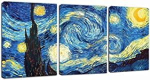 "Canvas Wall Art Starry Night by Van Gogh Painting - Classic Art Reproductions 12"" x 16"" x 3 Panels Landscape Canvas Prints Artwork Framed Ready to Hang for Living Room"