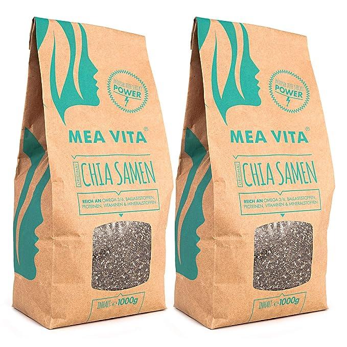 Las semillas de chía, MeaVita premium paquete 2er (2 x 1000 g)