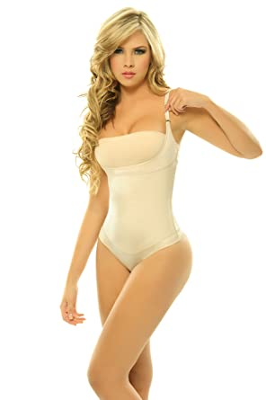 a605dc7122 Image Unavailable. Image not available for. Color  Siluet Firm Compression Braless  Body Shaper In Thong