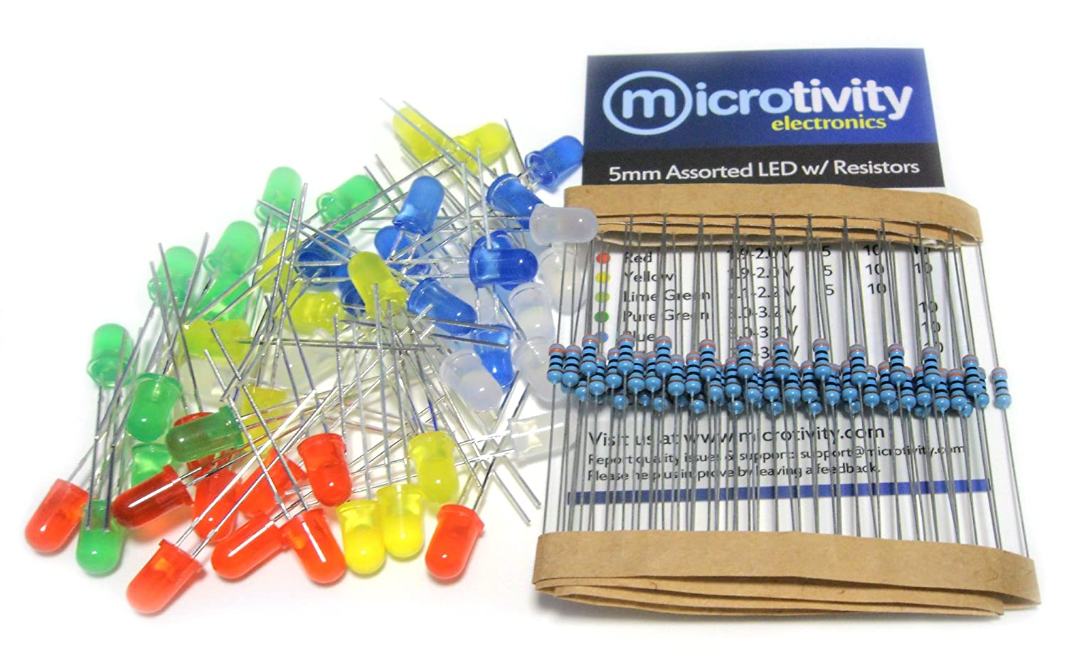 Microtivity Il185 5mm Assorted Diffused Led W Resistors 5 Colors Each Is Connected To A 68 Resistor In Series All Leds Pack Of 50 String Lights Electronics
