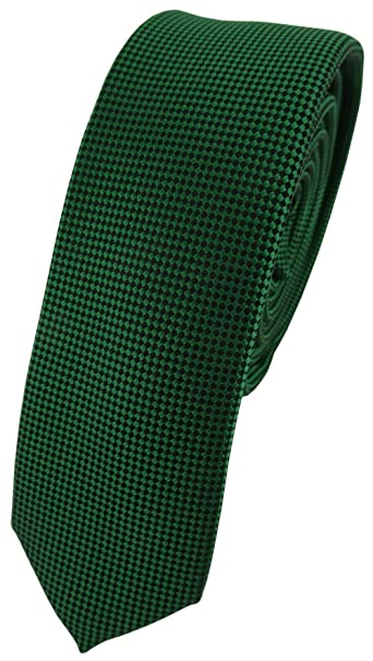 TigerTie - corbata estrecha - verde verde oscuro lunares: Amazon ...