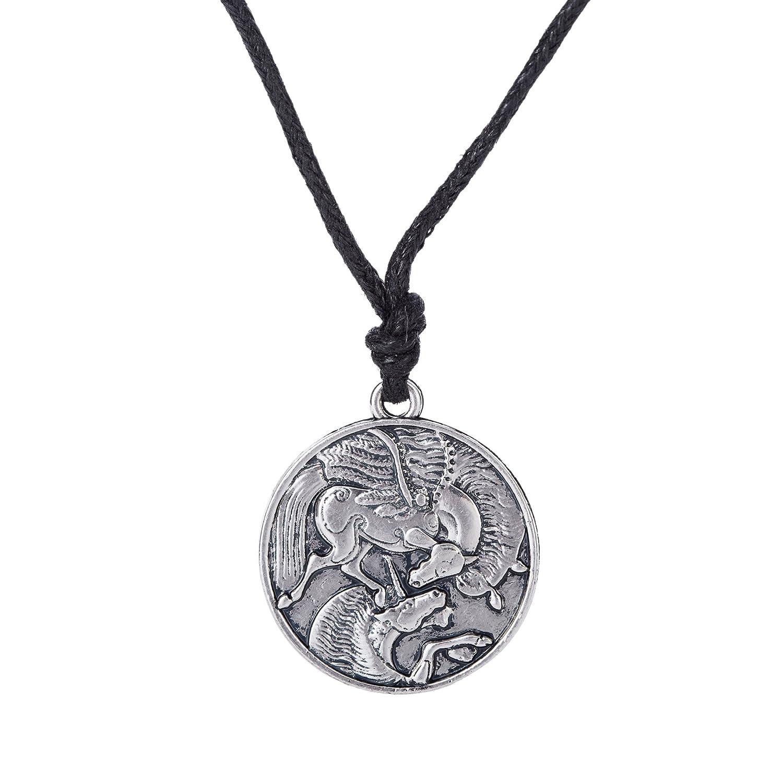 Vintage Amuleto Pegasus y unicornio gótico colgante collares para hombres y mujeres YI WU KE JI