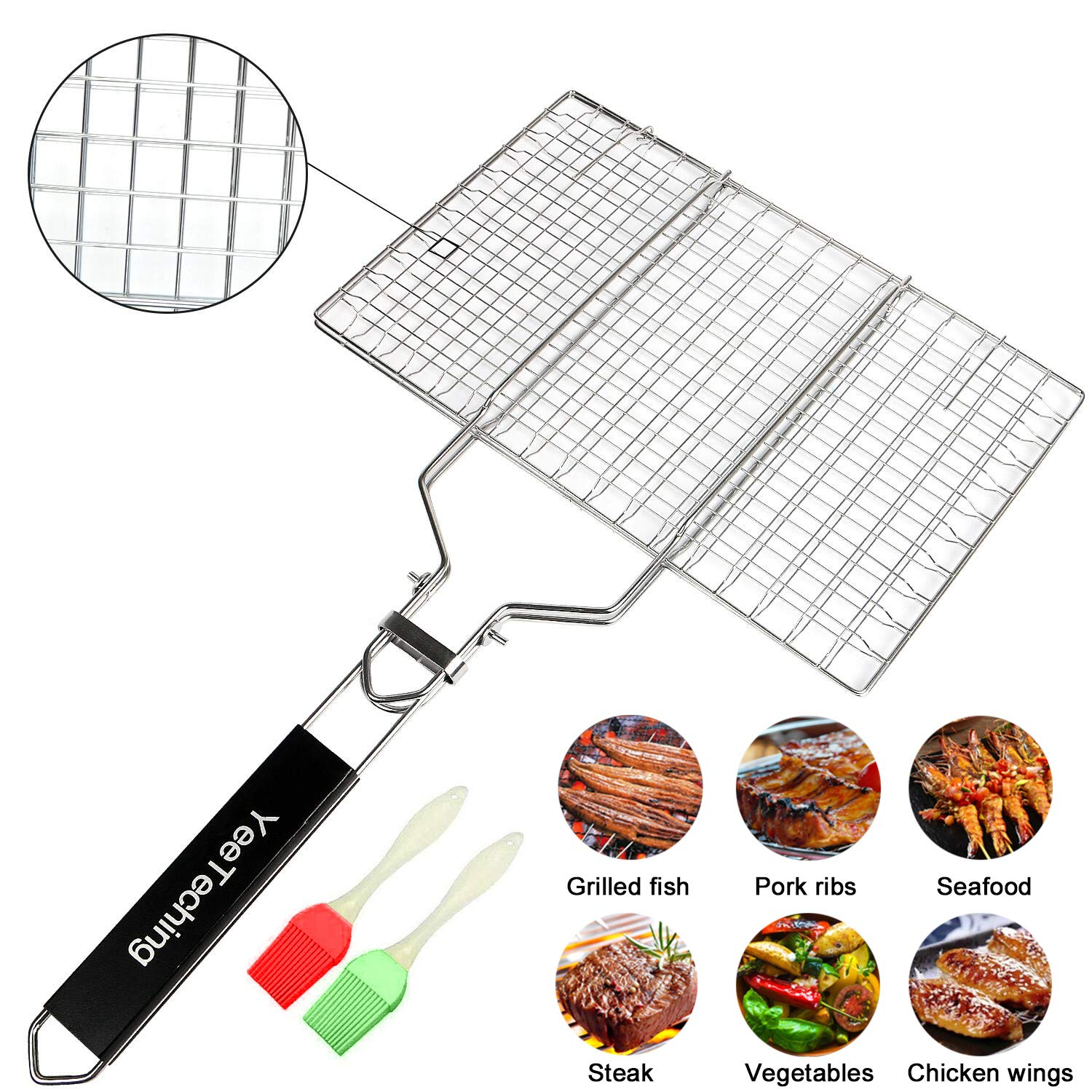 Yeeteching Grill Basket, 13inch Portable Stainless Steel BBQ Barbecue Fish Grilling Baket for Fish,Vegetables, Steak,Shrimp, Chops Bonus an Additional 2Pcs Brush by Yeeteching