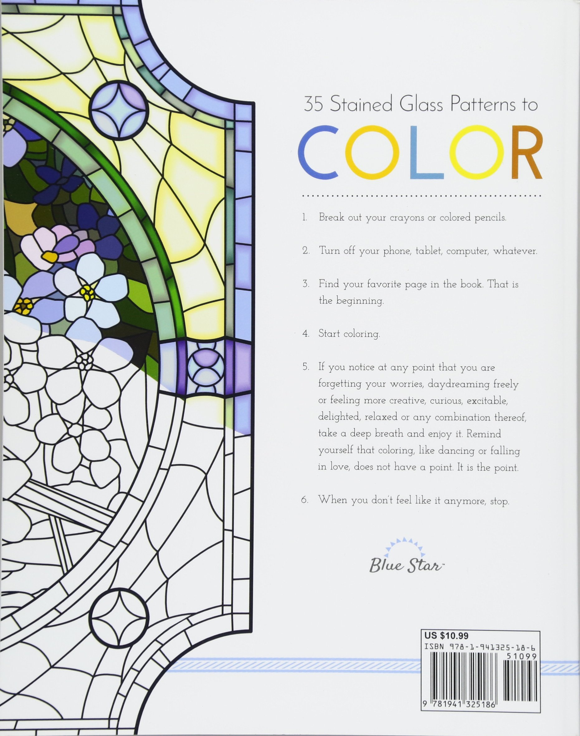 Coloring Book For Adults Stress Relieving Stained Glass Blue Star 9781941325186 Amazon Books