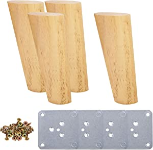 uxcell Wood Furniture Legs, 6 Inch Angled Sofa Legs with Mounting Plate, Slanting Solid Wood Replacement Feets for Couch Chair Cabinet Table DIY Set of 4