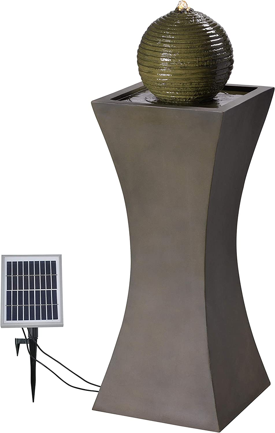 Kenroy Home Modern Outdoor Solar Floor Fountain ,39.5 Inch Height, 13.5 Inch Width, 13.5 Inch Ext. with Moss Stone Finish