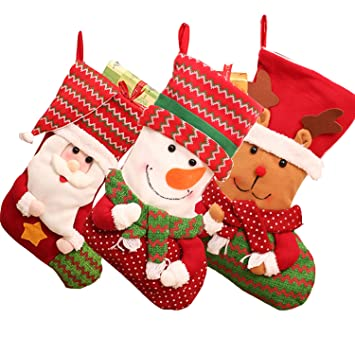 prefilled christmas stockingsym 3 pcs set 18 inch 3d cute family christmas stockings with