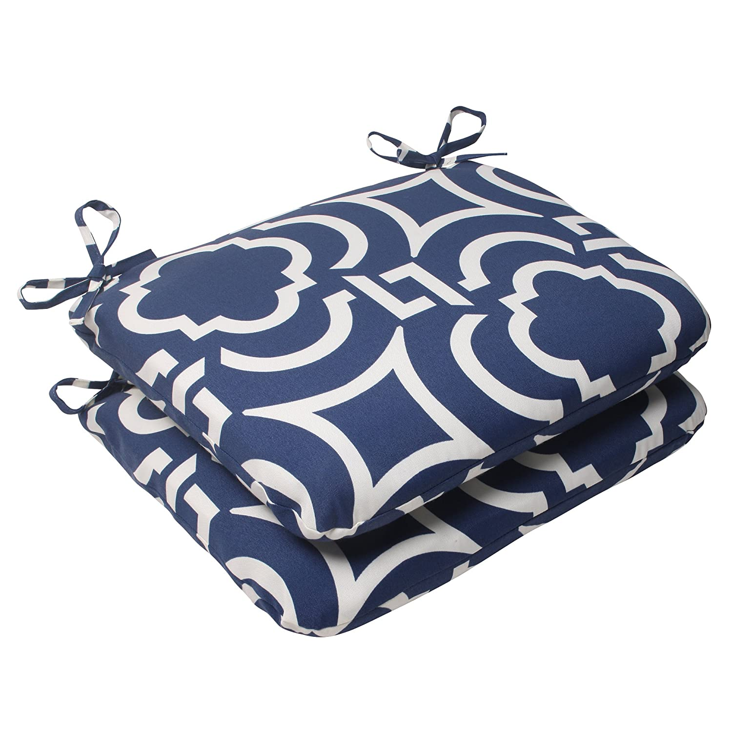 Pillow Perfect Outdoor Carmody Rounded Seat Cushion, Navy, Set of 2