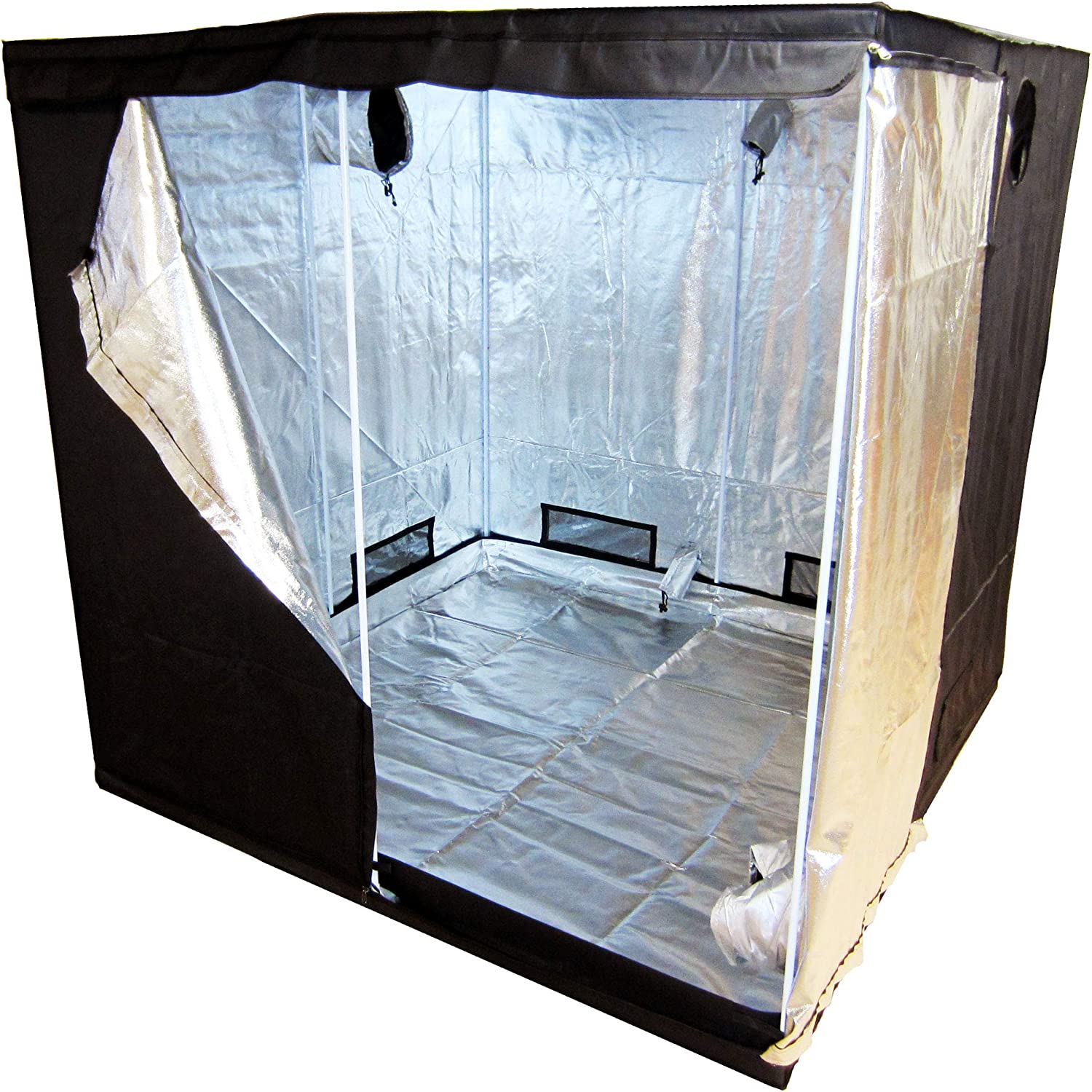 Propagation Senua 600D Mylar Hydroponic Water-Resistant Grow Tent with Observation Window and Removable Floor Tray Tool Bag for Indoor Plant Seedling etc 240 x 120 x 200 cm White Blossom