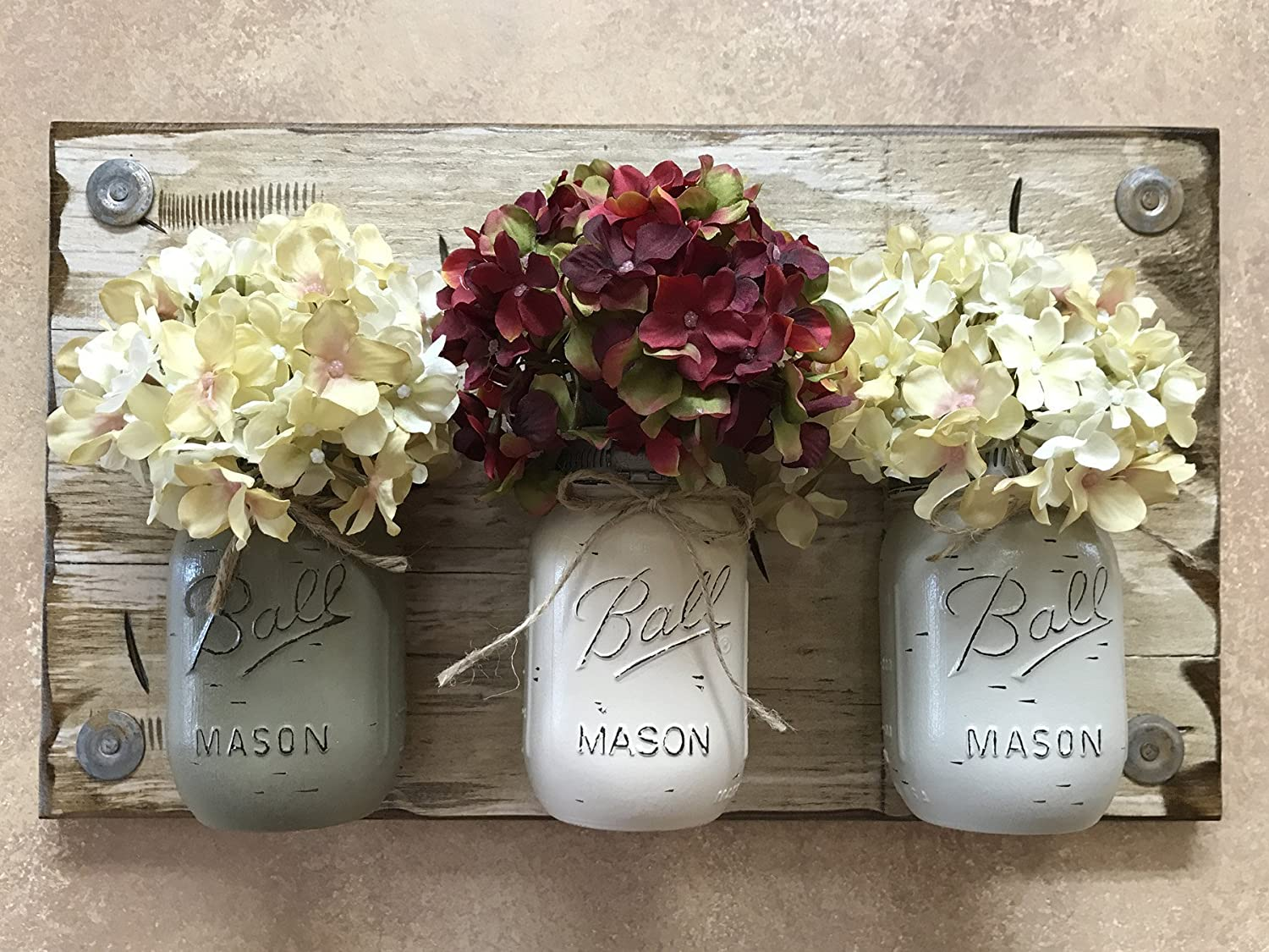 -PEWTER Green Mason JAR Caddy with 3 Ball Pint Canning Jars on Wood Antique White Wall Sconce -Kitchen Decor Utensil Holder Distressed Rustic -Flowers Pictured THISTLE Painted Jar Optional CREAM