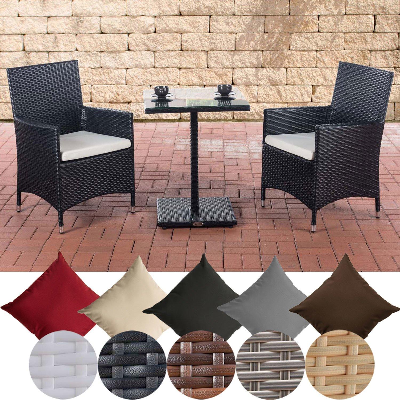 CLP Garten-Sitzgruppe Palermo l Polyrattan Gartengarnitur mit Aluminiumgestell l Garten-Set: 2 Stühle und EIN Tisch l erhältlich Schwarz, Bezugsfarbe: Cremeweiß