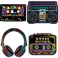 80's Party Decorations, 10 to 12 Inch 80's Cutouts Large Cassette Player Cutouts Headphones Cutouts Radio Cutouts for 1970s Party Decoration 1980's Theme Party Decorating Kit Retro Design (12 Pieces)