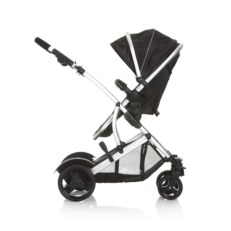 Hauck Duett 2 Black asiento desmontable carro gemelar manillar ajustable en altura silla de paseo gemelar asiento giratorio negro transformacion a sillita capazo desde nacimiento